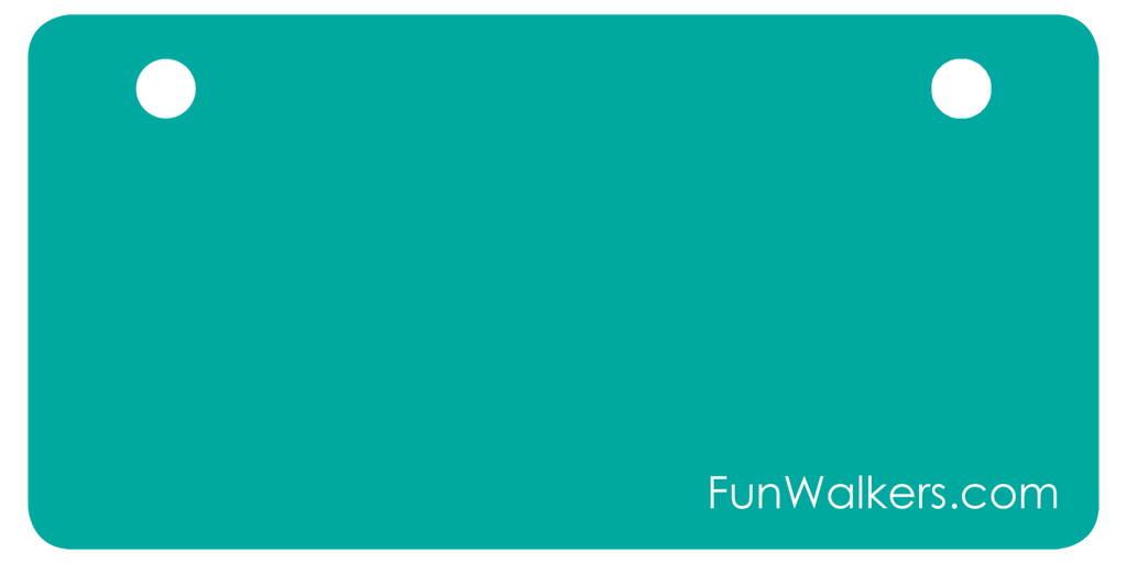 Customizable Funwalkers License Plate for Scooters, Walkers - Turquoise