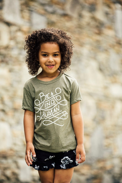 Be a Kind Human T-Shirt in Olive