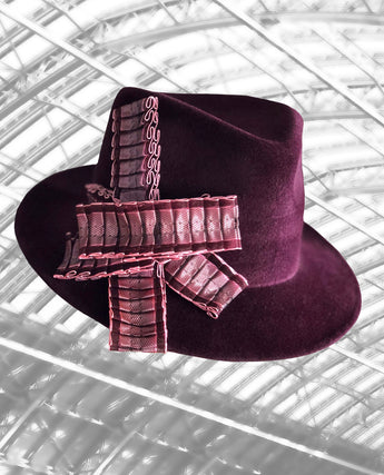 St Pancras - Burgundy Trilby with Pleated Ribbon