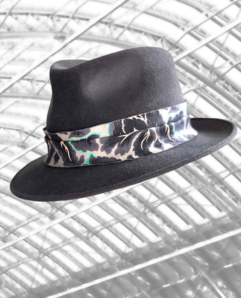 St Pancras - Pale Grey Trilby with Feather and Soft Fabric Trimmings