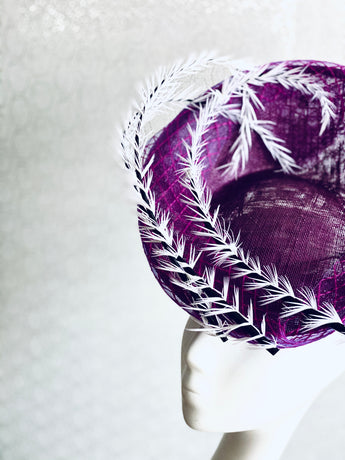 Swirl - Purple Headpiece with Swirls of Ostrich Quills
