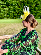Nuvolette - Yellow Feather Swirls Headpiece