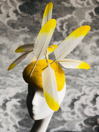 Nuvolette - Yellow Floating Feathers Headpiece