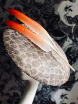 Mars Red Movement - Large Leopard Hat Burnt Orange Flight Feathers