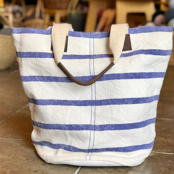 Washed Linen (Striped) French Market Tote