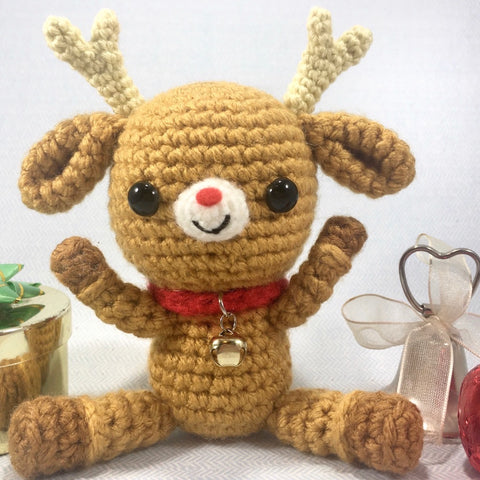 CROCHET PATTERN for Rudi, Kawaii Reindeer Plushy