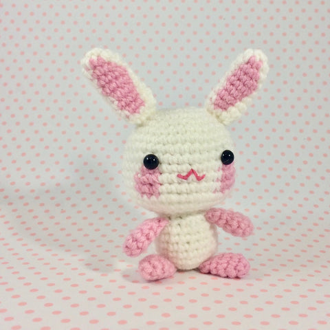 CROCHET PATTERN for Teeny Tiny Sakura Cherry Blossom Bunny! Miniature Amigurumi Rabbit
