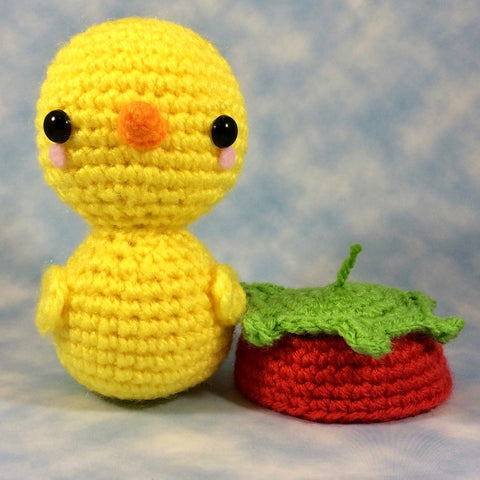 CROCHET PATTERN for Ducky in his Strawberry Hat! Kawaii Rubber Ducky ...