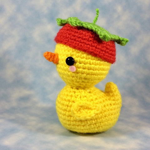 CROCHET PATTERN for Pudgy Ducky in his Strawberry Hat
