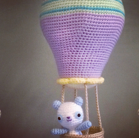 CROCHET PATTERN for Kawaii Hot Air Balloon Soft Sculpture and Panda Amigurumi