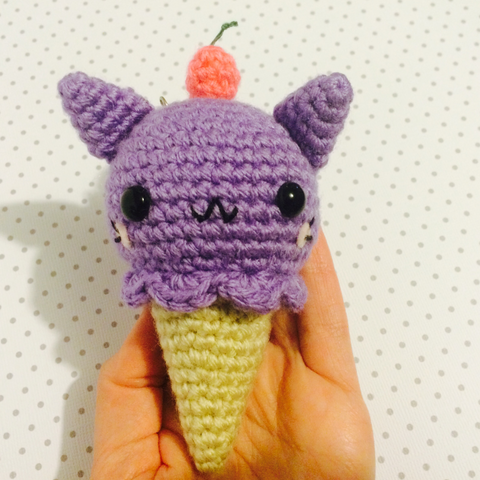 CROCHET PATTERN for Kawaii Kitty Cone Plushy Bag Charm