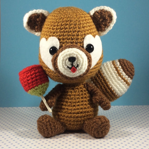 Japanese Red Panda With Candy Apple Amigurumi Adorable Crochet