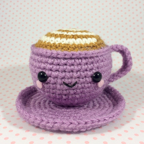 CROCHET PATTERN for Swirly Smiley Latte Amigurumi