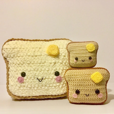 Crochet Pattern for Toast Amigurumi, Learn to Crochet Amigurumi Toast in 3 Sizes- Toast Pillow, Toast Plushy, and Miniature Toast