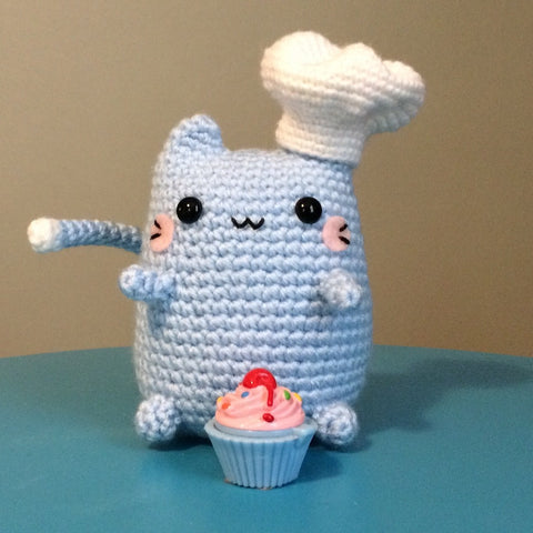 Chef Kitty Amigurumi!  The Kookiest Cook of All Time!