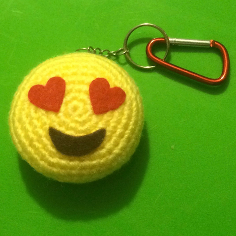 CROCHET PATTERN for Love Emoji Amigurumi Plushy Bag Charm