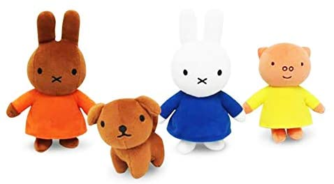 Miffy Adventures Big and Small - Talking Plush Toys Set of All 4, Melanie, Grunty & Snuffy