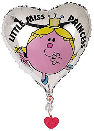 "Mr Men Little Miss Princess - Heart Shaped 45cm 18"" Birthday Party Foil Helium Balloon with Ribbon & Balloon Weight"