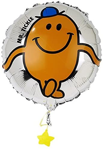 "Mr Men Mr Tickle - 45cm 18"" Birthday Party Foil Round Helium Balloon with Ribbon & Balloon Weight"