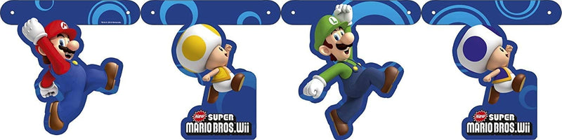 Super Mario Bros Rivet Hinged Cardboard Party Room Banner 150cm