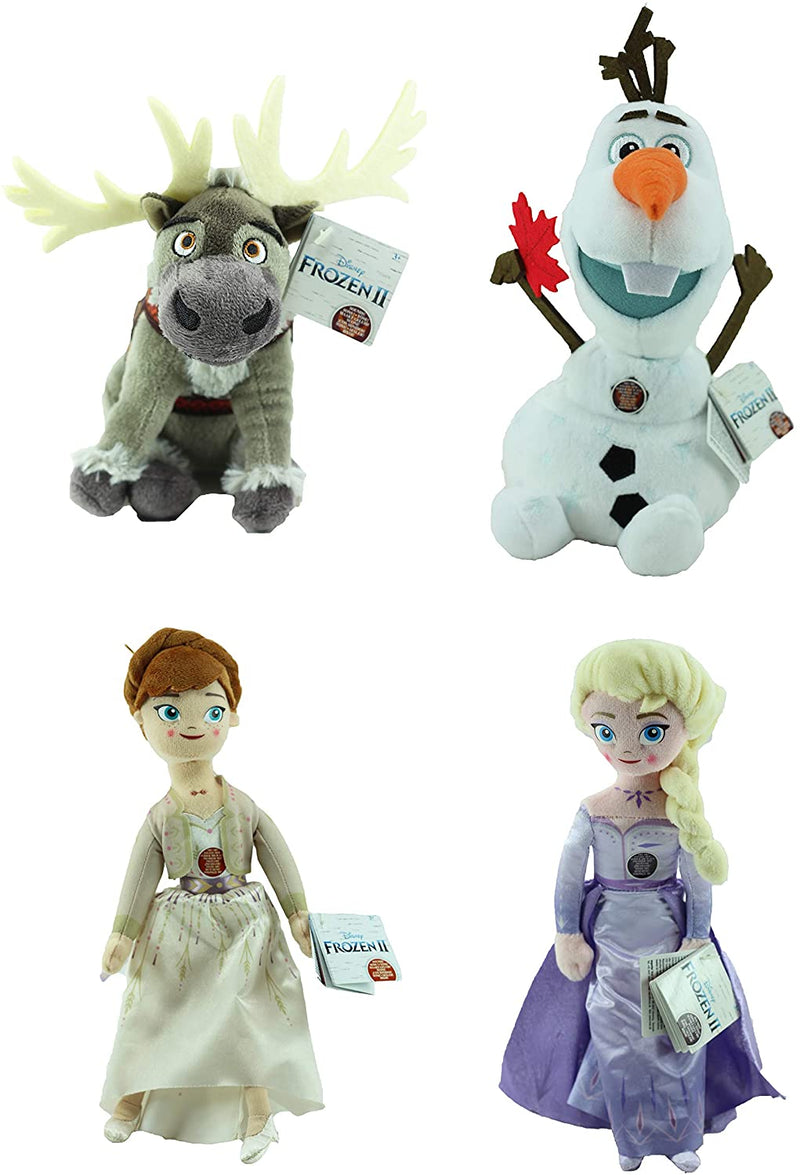 "Frozen 2 - Set of All 4 Super Soft Plush Toys Musical Talking Noises 10"" 25cm - Anna, Elsa, Olaf & Sven"