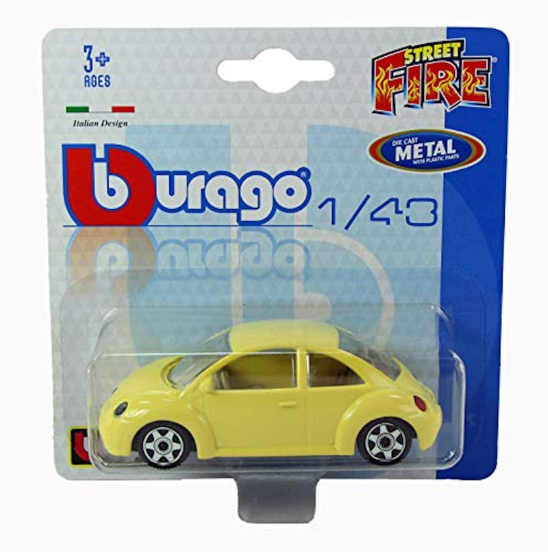 burago New 1/43 Diecast Model Car Street Fire' Range - Volkswagon VW Beetle in Yellow