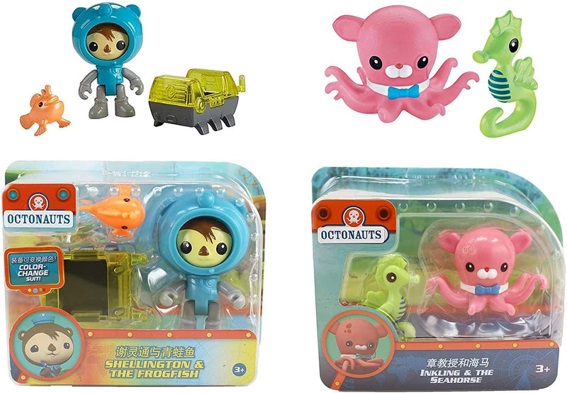Fisher Price Octonauts Rescue Figure & Sea Creature Pack - Set of 2 - lnkling & The Seahorse, Shellington & The Frogfish S5