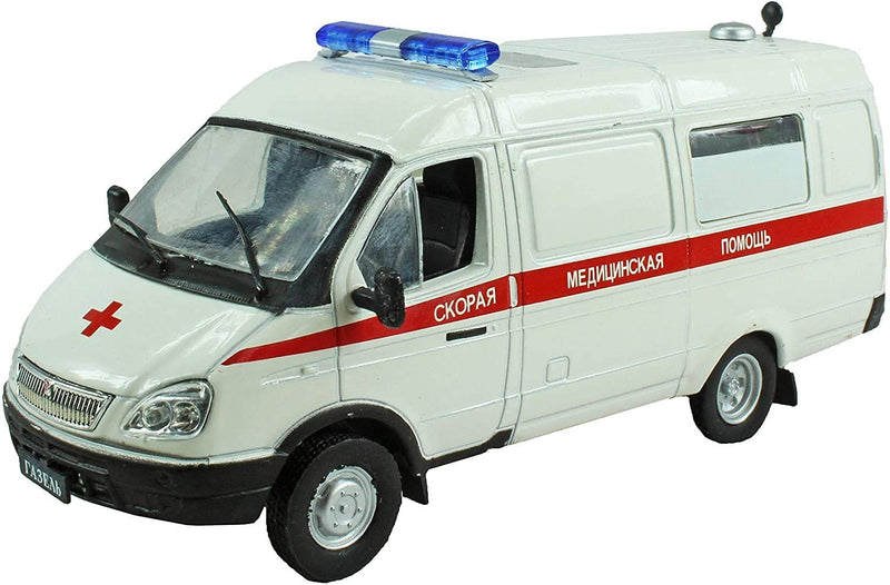 IXO Models DeAgostini 1:43 Diecast Russian Legends - GAZ 32214 RA3ENB Red Cross Civilian Ambulance Van