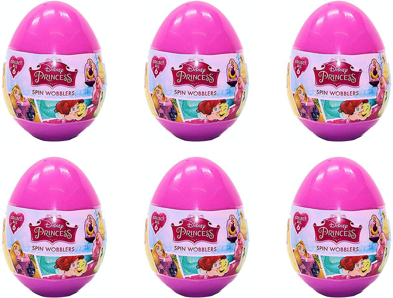 Disney Princess Spin Wobblers Mini 2D Figure Mystery Eggs - Party Favour Bag Pack of 6