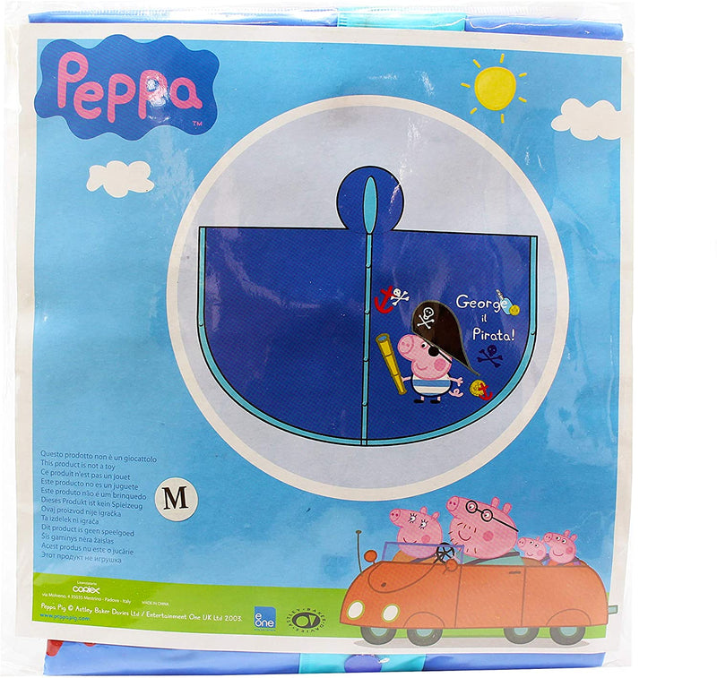 Peppa Pig - George The Pirate Children's Blue Waterproof Rain Poncho - Medium