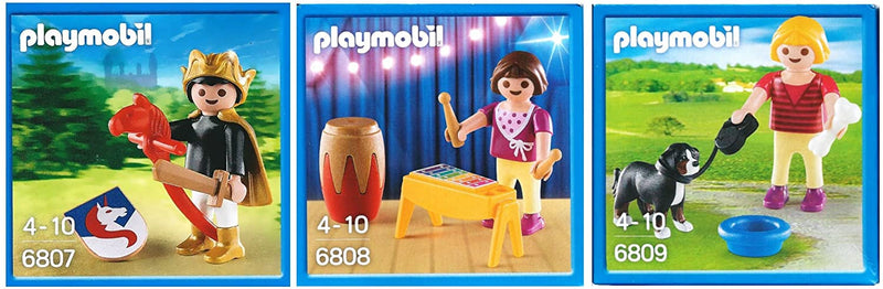 Playmobil Characters Set of 3 - Includes Girl Walking Dog, Girl & Xylophone & Knight on Hobby Stick Horse - 6807, 6808 & 6809