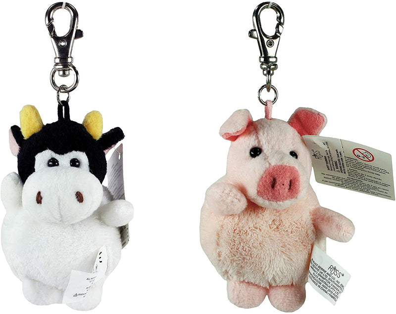 Russ Berrie Barnyard Pals Animal Key Pals Plush Keyclip Set of 2 - Pig & Cow