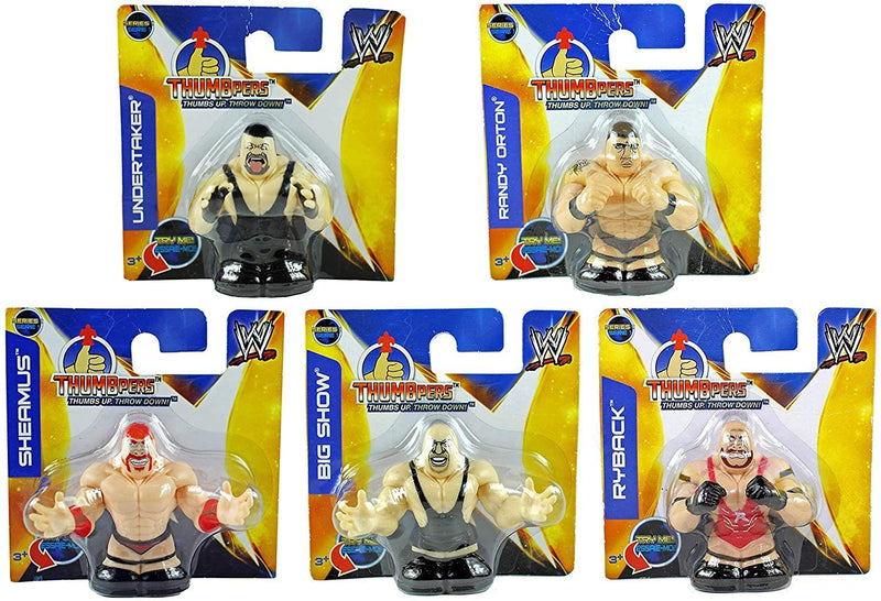 WWE Thumbpers Series 1 Mini Wrestling Figure Set of 5 - Randy Orton, Sheamus, Undertaker, Big Show. Ryback