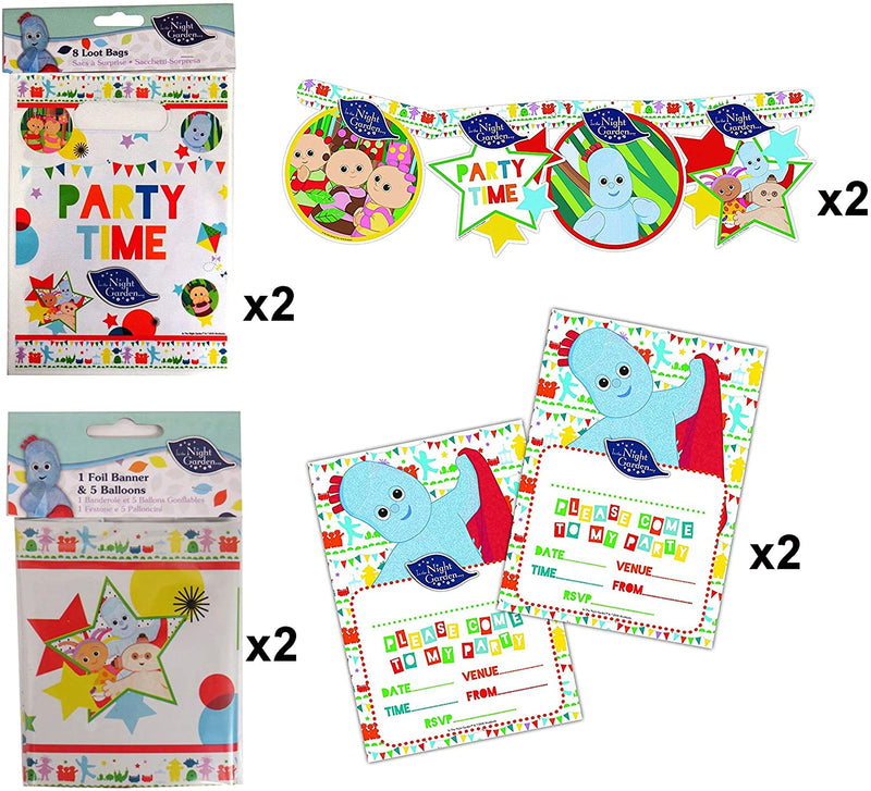 IN THE NIGHT GARDEN 8 Piece Party Set - Loot Bags, Card Party Banner, Invitations & Party Banner & Balloons