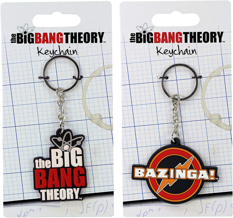 The Big Bang Theory Laser Cut Rubber Keychain Twin Pack - Includes Bazinga and Logo Designs
