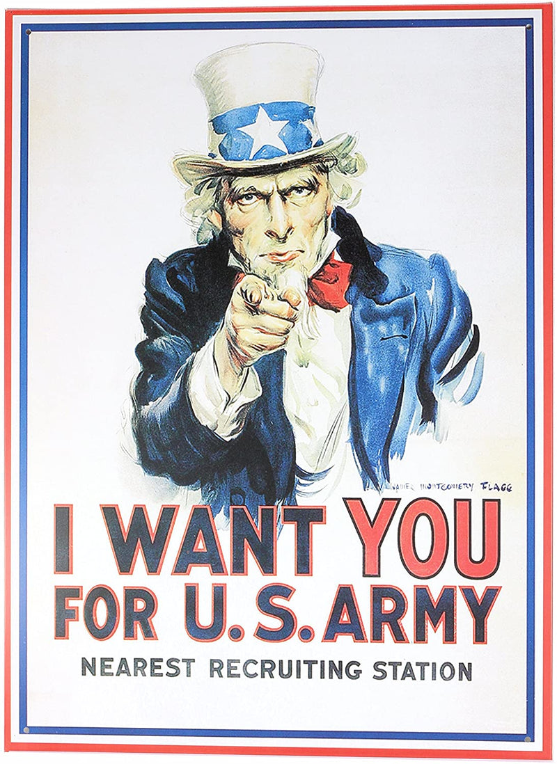 Retro Wall Art Tin Sign Plaque 30cm x 40cm - Uncle Sam 'I Want You For U.S.Army