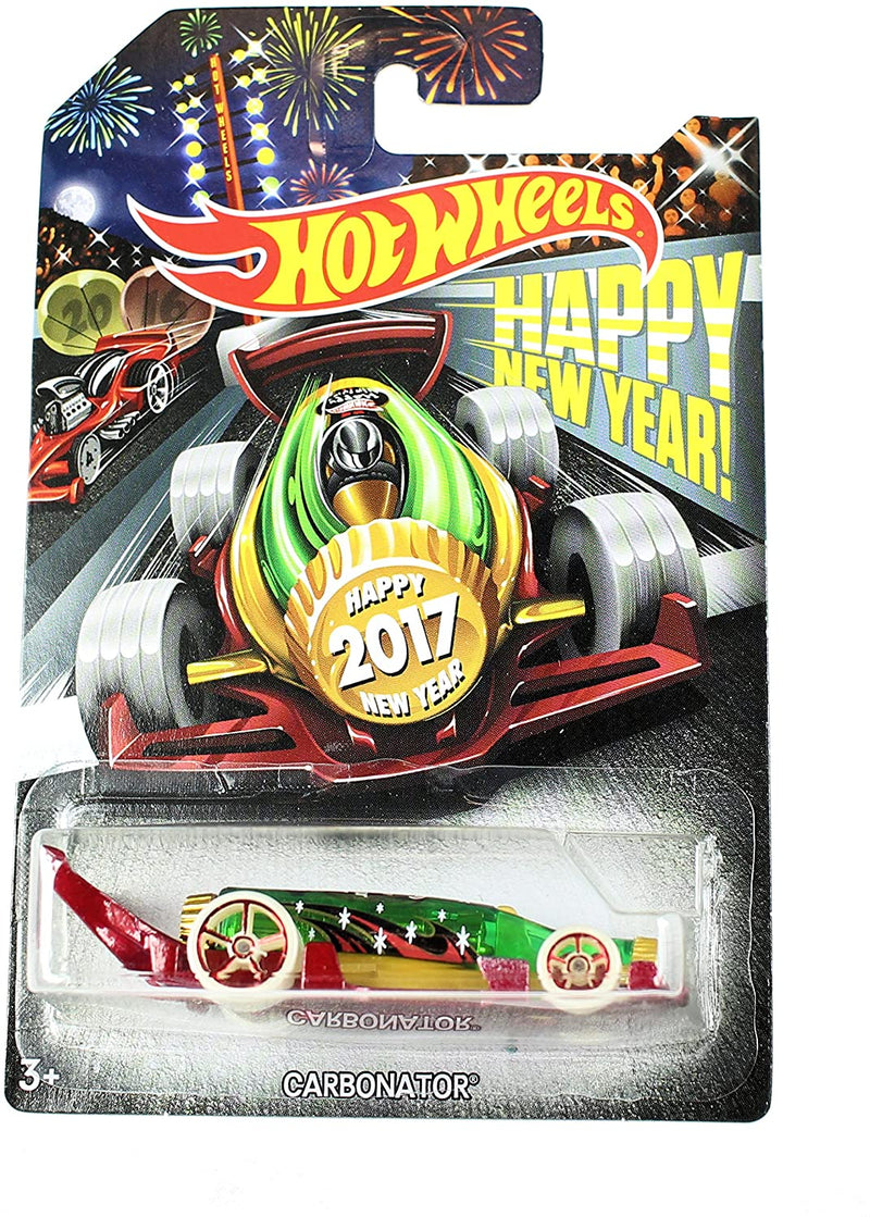 2017 Hot Wheels Happy New Year Green And Red Carbonator Bottle Opener