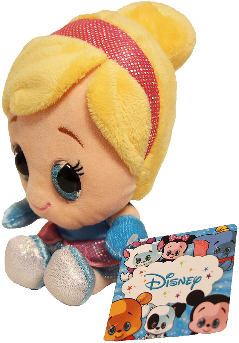 "Disney Glitzies Super Soft 15cm 6"" Plush Toy with Big Glittery Eyes - Disney Princess Cinderella"