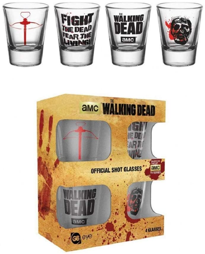 The Walking Dead Symbols Shot Glasses 4 Pack In Box Officially Licensed