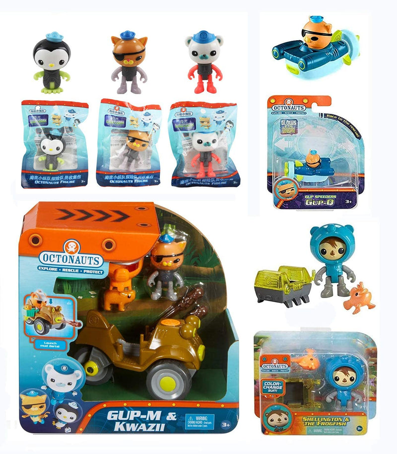 The Octonauts Fisher Price 6 Piece Gift Set - Includes GUP M & Kwazi Playset, GUP Speeder Q, Shellington & The Frogfish Creature Pack & 3 Glow in the dark Articulated Figures