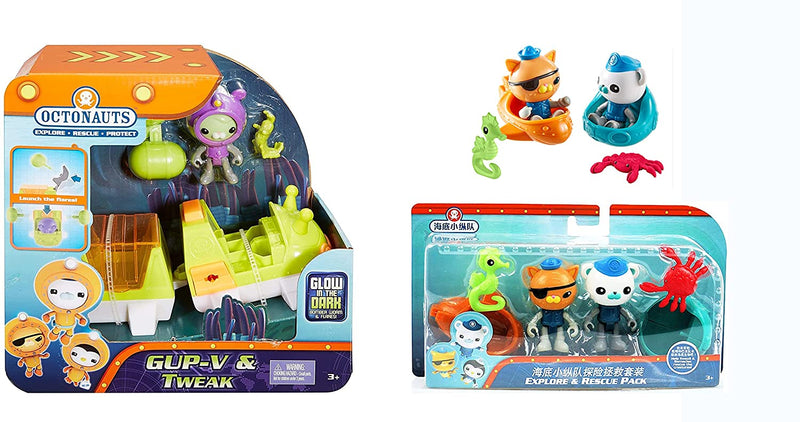 Fisher Price The Octonauts - Gup & Tweak Playset & Kwazi & Barnacles Explore & Rescue Pack