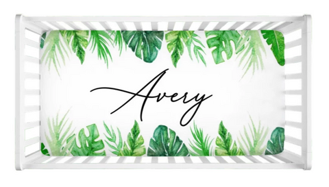 Tropical Leaves - Personalized Crib Sheet