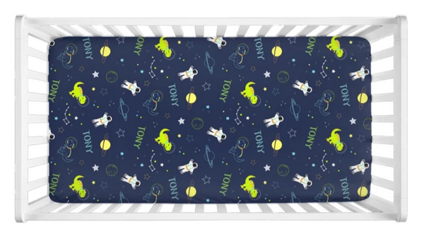 Space Dinos - Personalized Crib Sheet (more color options available)