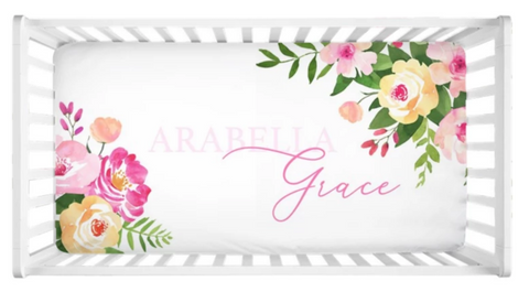 Spring Floral - Personalized Crib Sheet