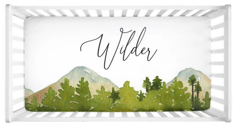 Mountains - Personalized Crib Sheet