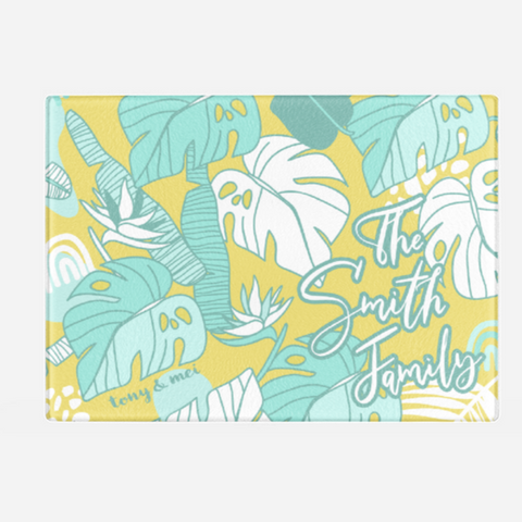 Tropical Doodle  - Custom Glass Cutting Board - Yellow