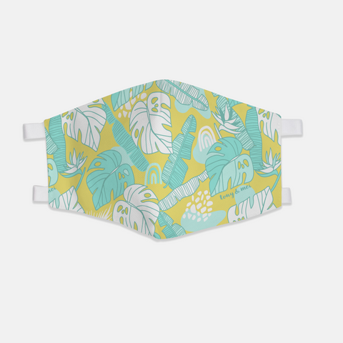 Tropical Doodle  - Canvas Face Mask- Yellow