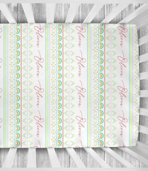Happy Mudcloth - Personalized Crib Sheet