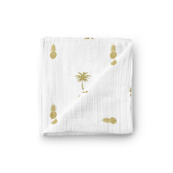Lux Metallic Gold Print Muslin Blanket - Pineapple