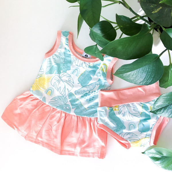 Ruffle Tank Dress + Bummie - Tropical Doodle